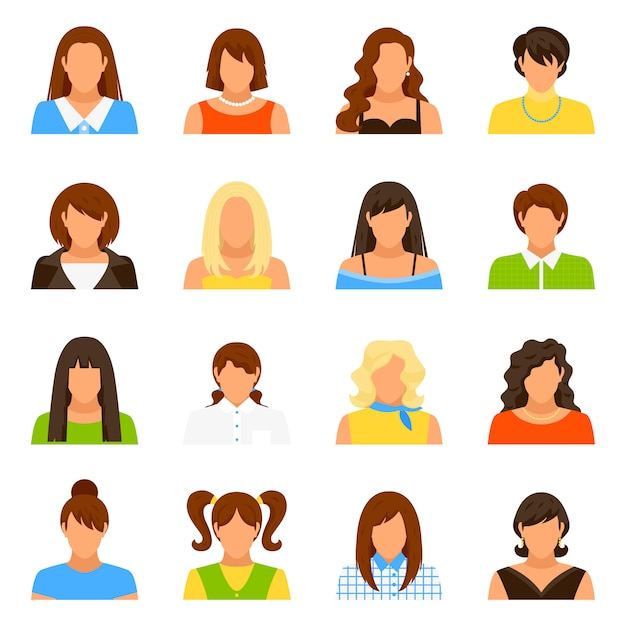 Woman avatar icons set Free Vector