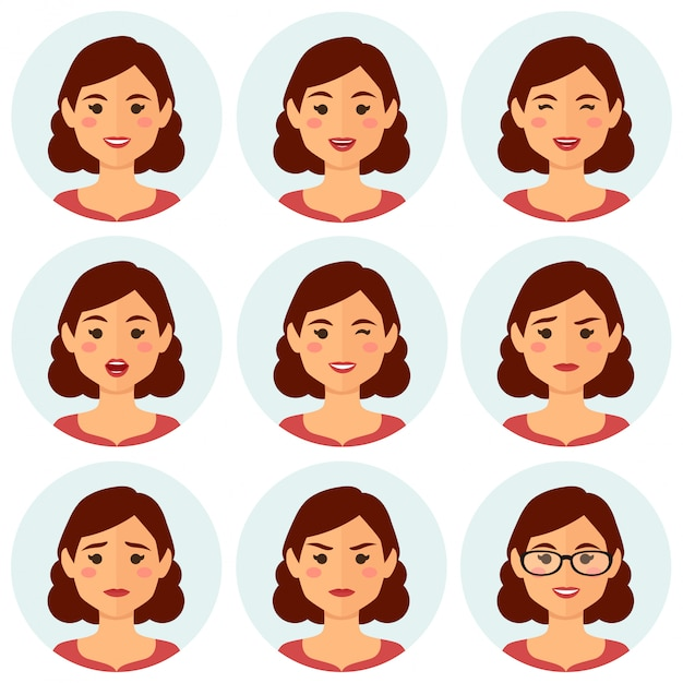Woman avatars facial expressions Premium Vector