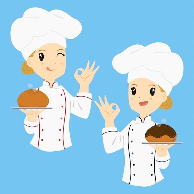 Woman baker cartoon vector Premium Vector