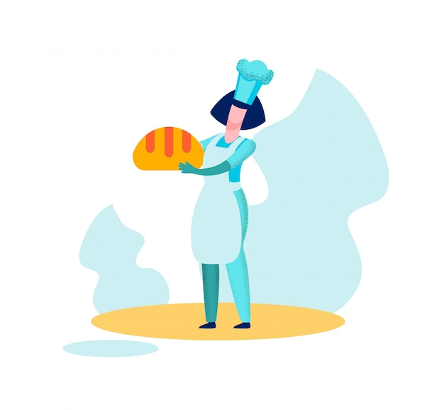 Woman baker chief holding bread baked production Premium Vector