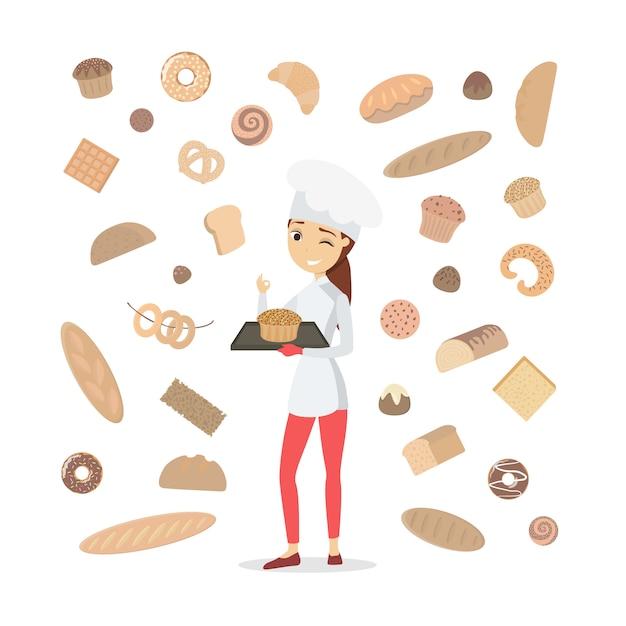 白のペストリーと女性のパン屋。 Premiumベクター