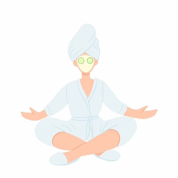 Woman in bathrobe, towel and face mask meditating in lotus pose. Premium Vector