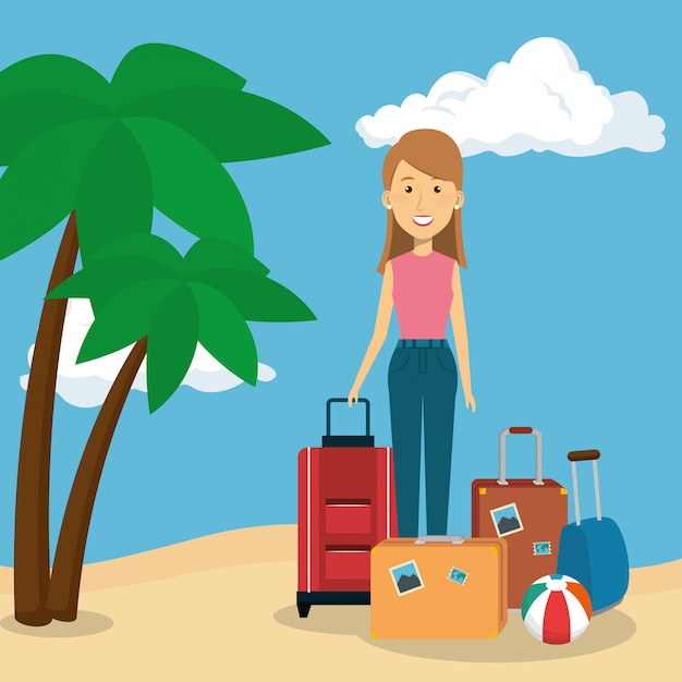 Woman in the beach character Free Vector