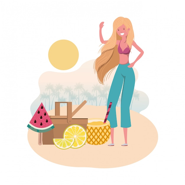 Woman on the beach with picnic basket Free Vector