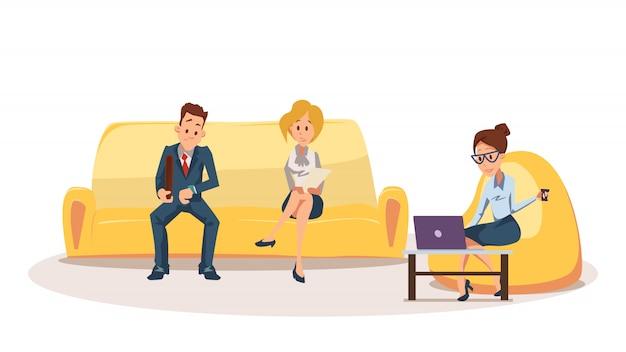 Woman on bean bag chair, employee sit on couch Premium Vector