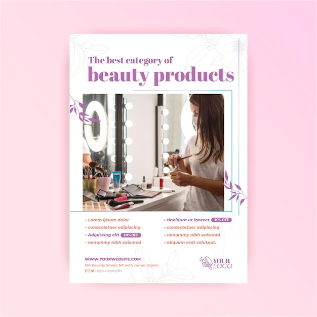 Woman and beauty products cosmetic flyer template Free Vector