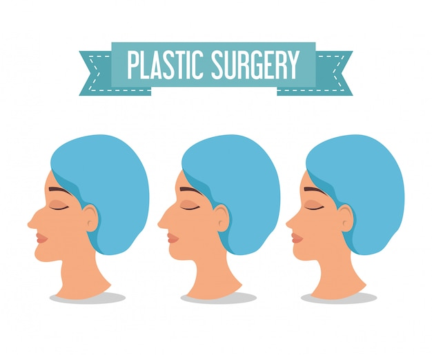 Woman before and after of plastic surgery process Free Vector