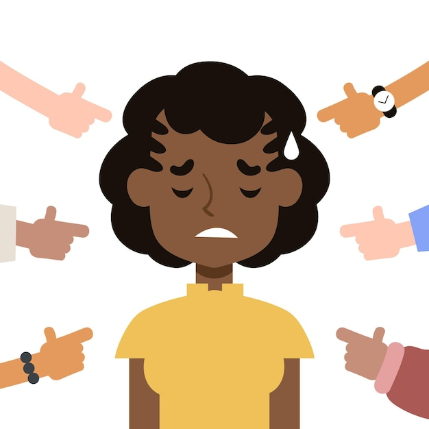 Женщина будучи расстроенной концепцией социальной изоляции Бесплатные векторы