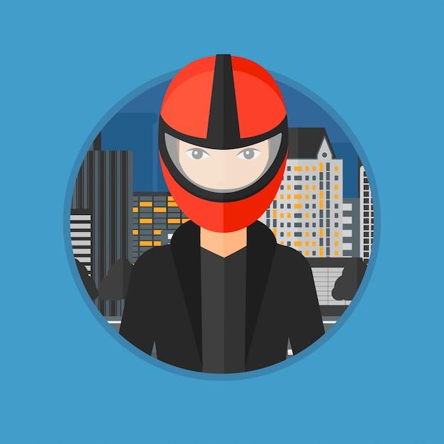 Woman in biker helmet. Premium Vector