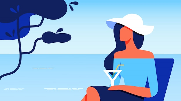 Woman in blue blouse with glass resting near sea. Premium Vector