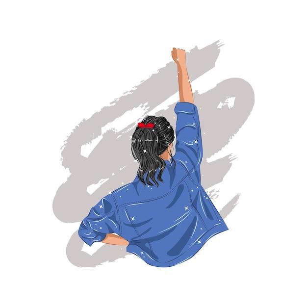 Woman in blue denim jacket raising her fist as a symbol of girl power. international woman's day. flat  design. Premium Vector