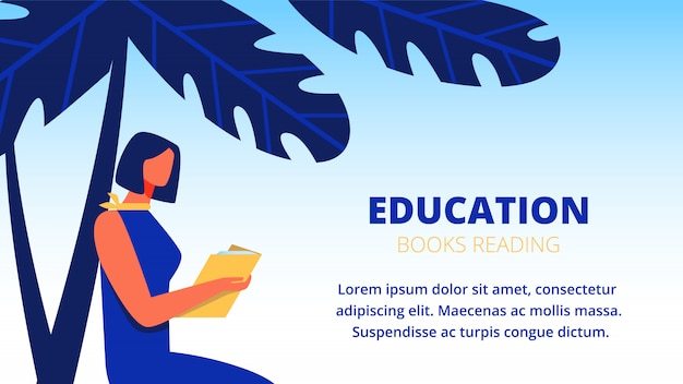 Woman in blue dress read book under palm tree. banner template Premium Vector