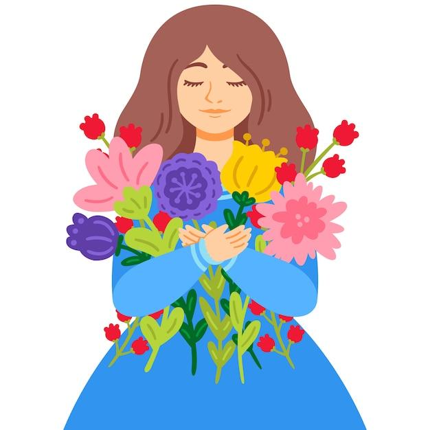 Premium Vector Woman In A Blue Dress With A Bouquet Of Flowers Mother S Day 8 March International Womens Day Greeting Card Concept
