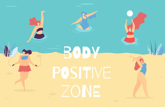 Woman body positive zone motivational text banner Free Vector