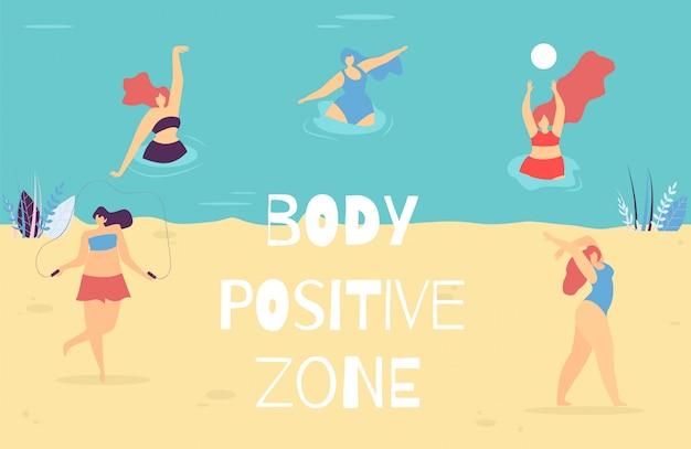 Woman body positive zone motivational text banner Premium Vector