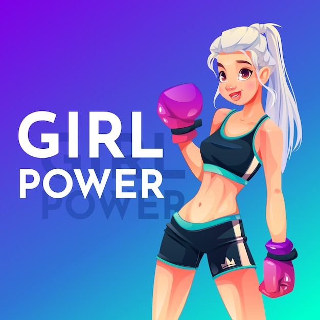 Woman in boxing gloves and sportswear Free Vector