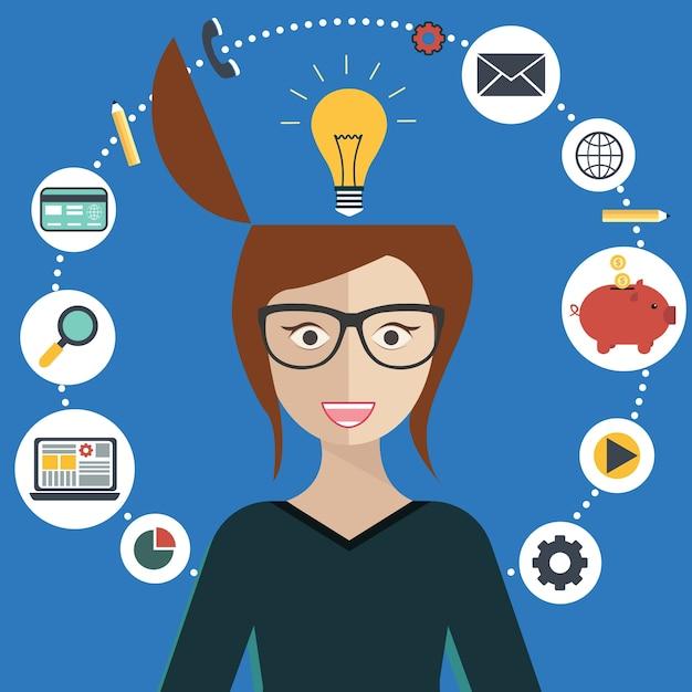 Woman brainstorming Free Vector