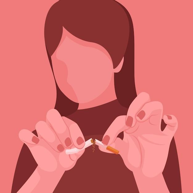Donna che rompe il concetto di sigaretta Vettore gratuito