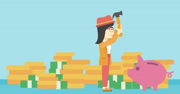 Woman breaking piggy bank vector illustration. Premium Vector