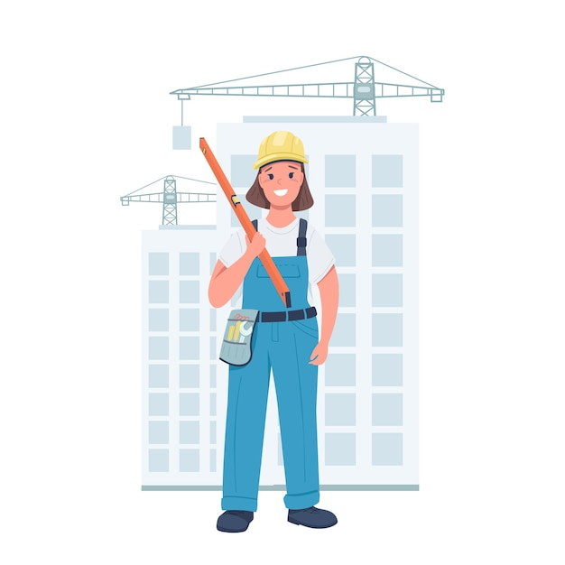 Woman builder flat color detailed character. cheerful lady wearing working uniform. female at construction site isolated cartoon illustration for web graphic design and animation Premium Vector