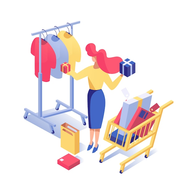 Woman buying clothes Premium Vector