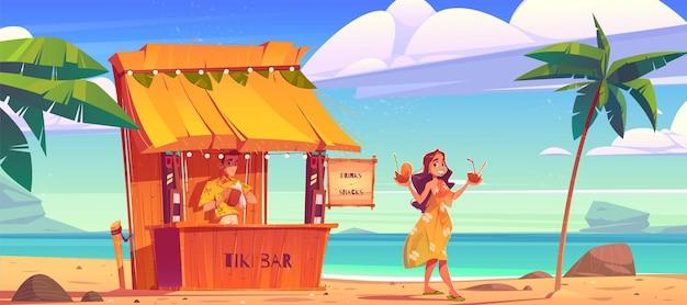 하와이 해변에서 바텐더와 티키 헛 바에서 칵테일을 사는 여자 무료 벡터