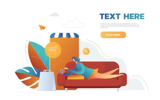 Donna che compra cose negozio online in app mobile, vettore, sdraiato sul divano Vettore gratuito