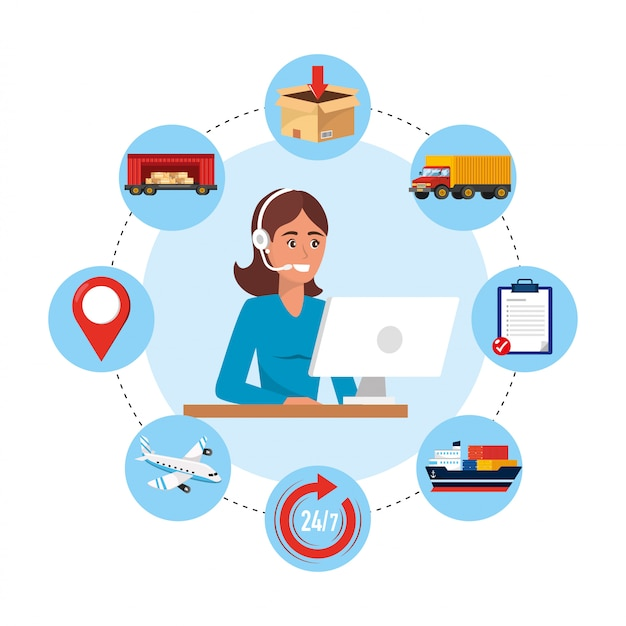 Woman call center agent with computer and delivery service Premium Vector