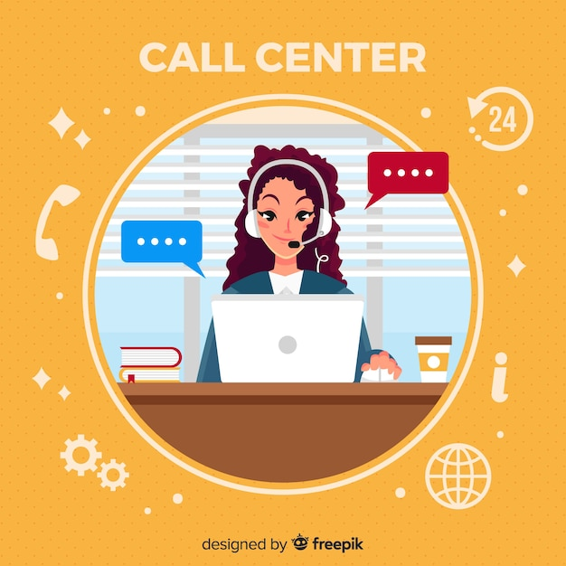 Woman in call center Free Vector