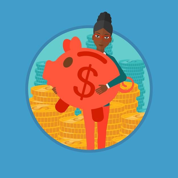 Woman carrying piggy bank vector illustration. Premium Vector
