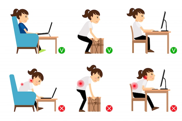 Woman cartoon character sitting and working Premium Vector