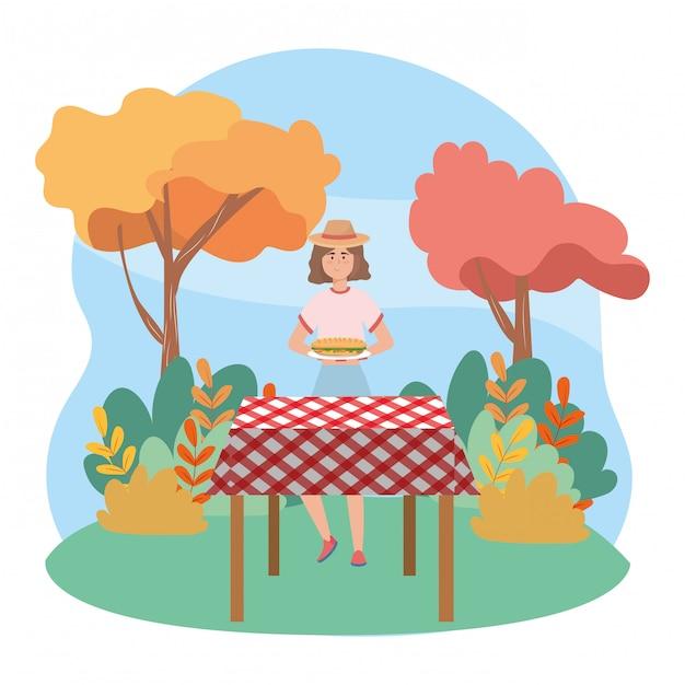 Woman cartoon having picnic Premium Vector