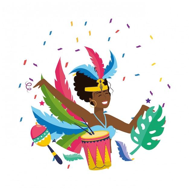 Woman celebrating brazil carnival vector illustration Premium Vector