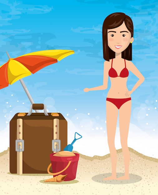 Woman character on the beach Free Vector