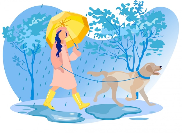 Woman character in cloak and boots walk with dog Premium Vector