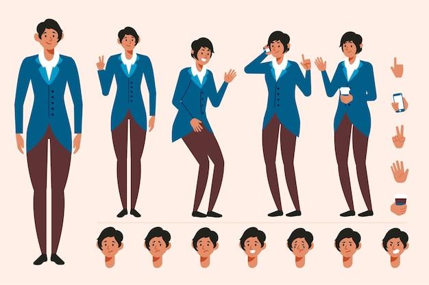 さまざまなポーズの女性キャラクター作成セット 無料ベクター