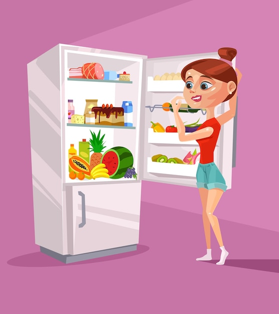 Woman character near refrigerator thinking what to eat.   cartoon Premium Vector