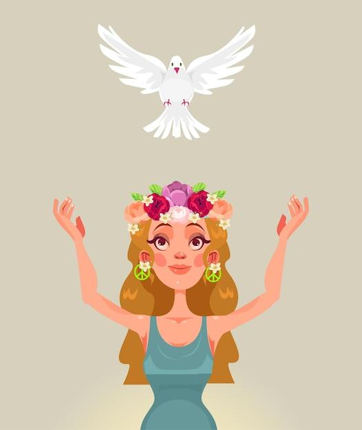 Женский персонаж выпускает голубя мира. Premium векторы