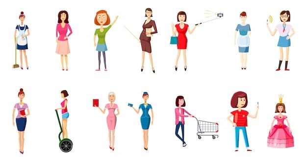 Woman character set. cartoon set of woman Premium Vector