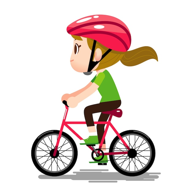 Woman Character wearing helmet and riding Bicycle Vector ...
