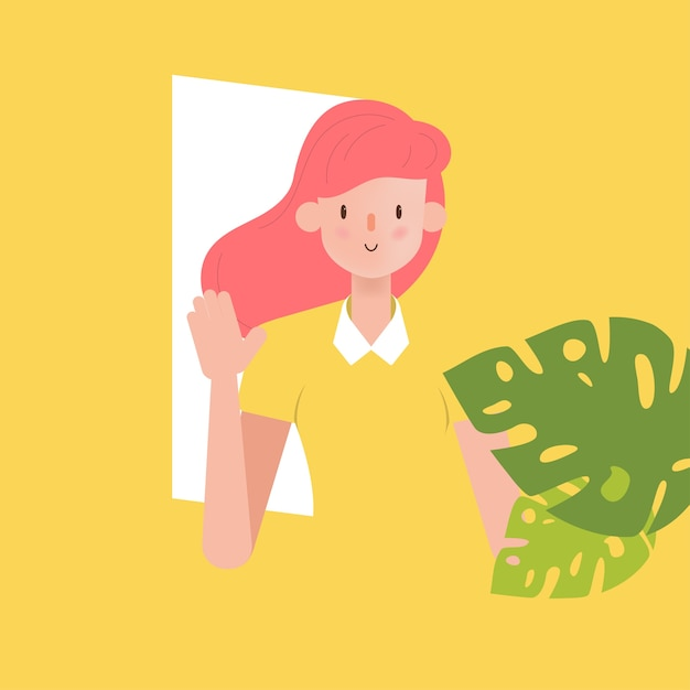 Woman character with leaf. Premium Vector