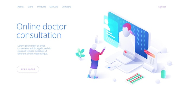 Woman chatting online on medical internet portal. patient having online consultation with doctor. modern health care services and online Premium Vector