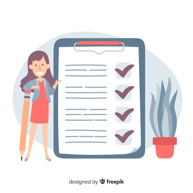 Woman checking giant check list background Free Vector