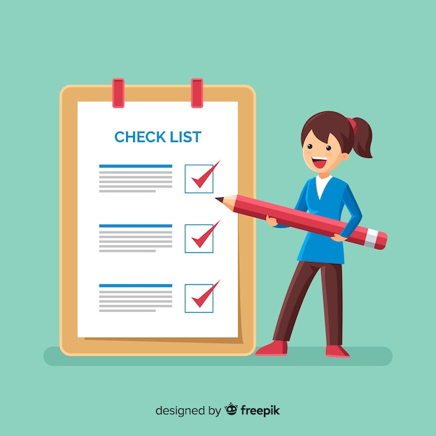 Woman checking list giant check list Free Vector