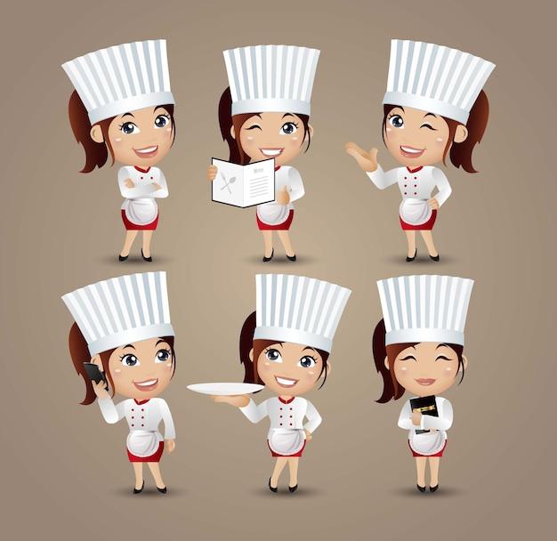 Женщина-повар в разных позах Premium векторы