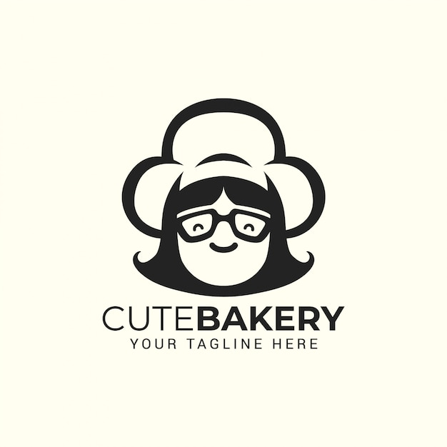 Woman chef with hat. logo for restaurant, cafe, cake bakery shop Premium Vector