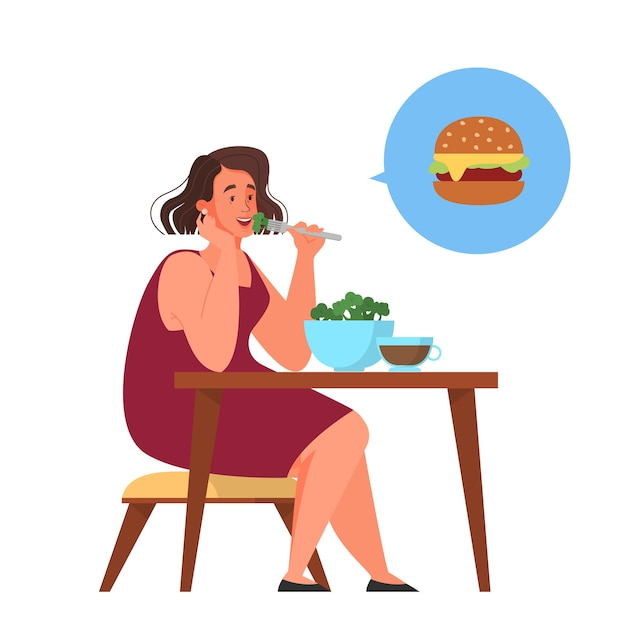 Woman choose between healthy and junk food. calorie control and diet concept. idea of weight loss.    illustration Premium Vector