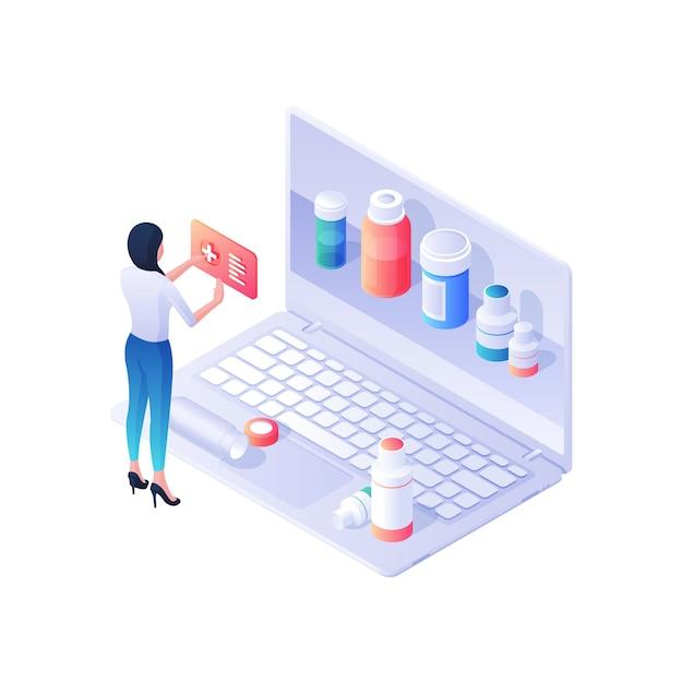 Женщина выбирает лекарства в изометрической иллюстрации интернет-аптеки. женский персонаж читает веб-инструкции по наркотикам, смотрит представленные пакеты на сайте. нарушена концепция фармацевтических услуг. Premium векторы