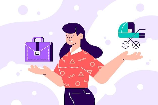 家族の責任とキャリアのイラストのどちらかを選択する女性 Premiumベクター