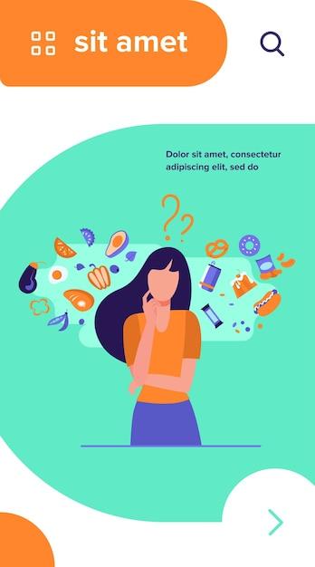 健康食品と不健康食品のどちらかを選ぶ女性。オーガニックまたはジャンクスナックの選択について考えるキャラクター 無料ベクター